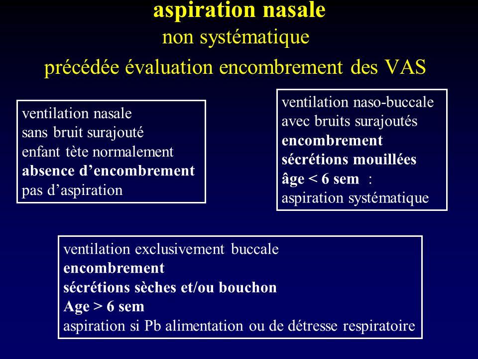 aspiration nasale non systématique précédée évaluation encombrement des VAS