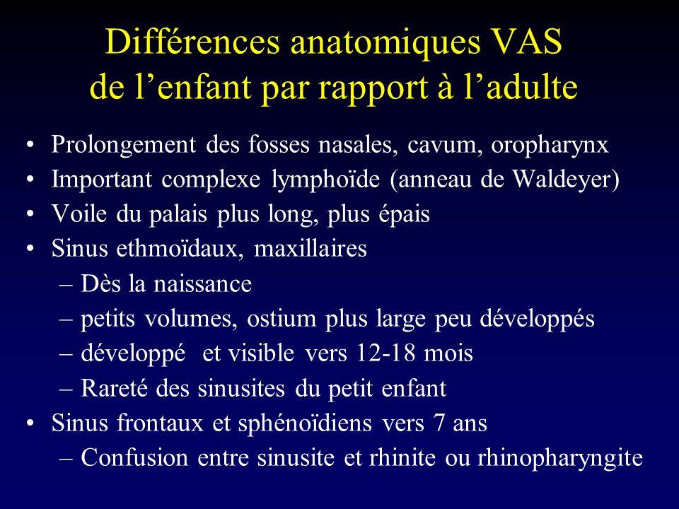 Différences anatomiques VAS de l'enfant par rapport à l'adulte