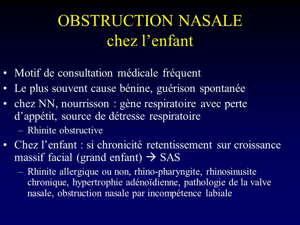 OBSTRUCTION NASALE chez l'enfant