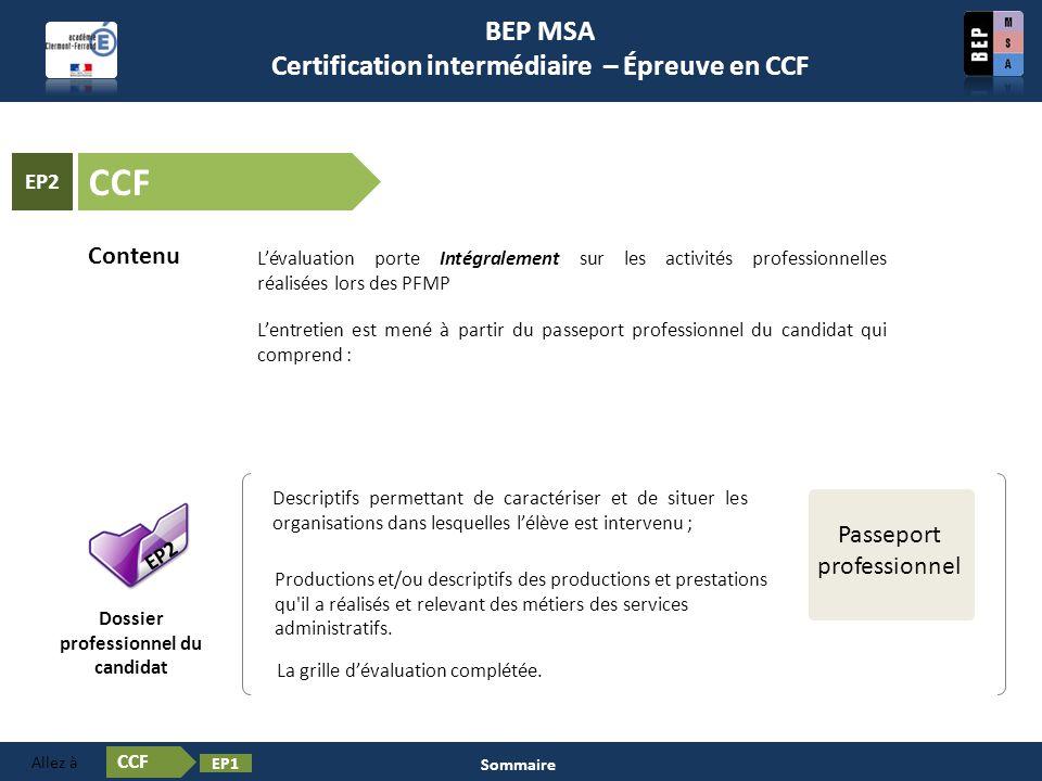 Certification intermédiaire – Épreuve en CCF