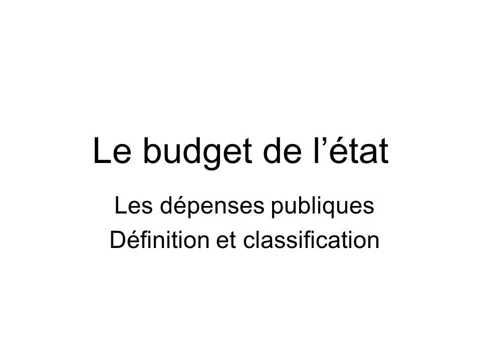 Les dépenses publiques Définition et classification
