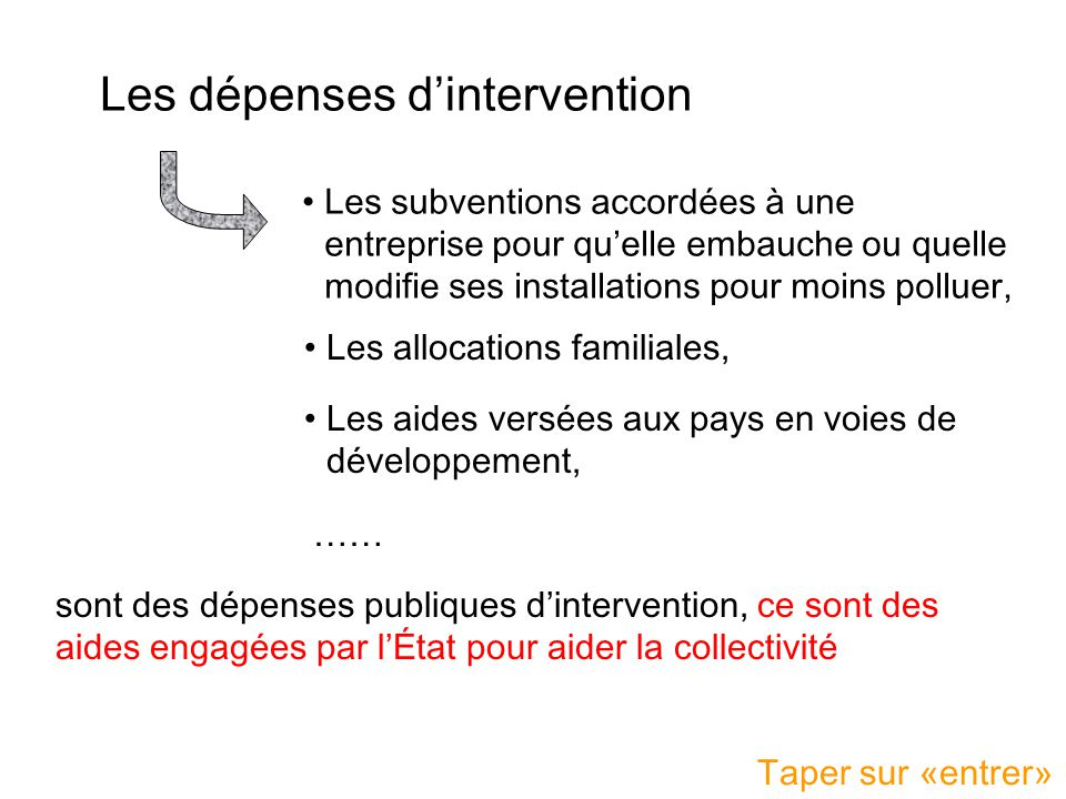 Les dépenses d'intervention