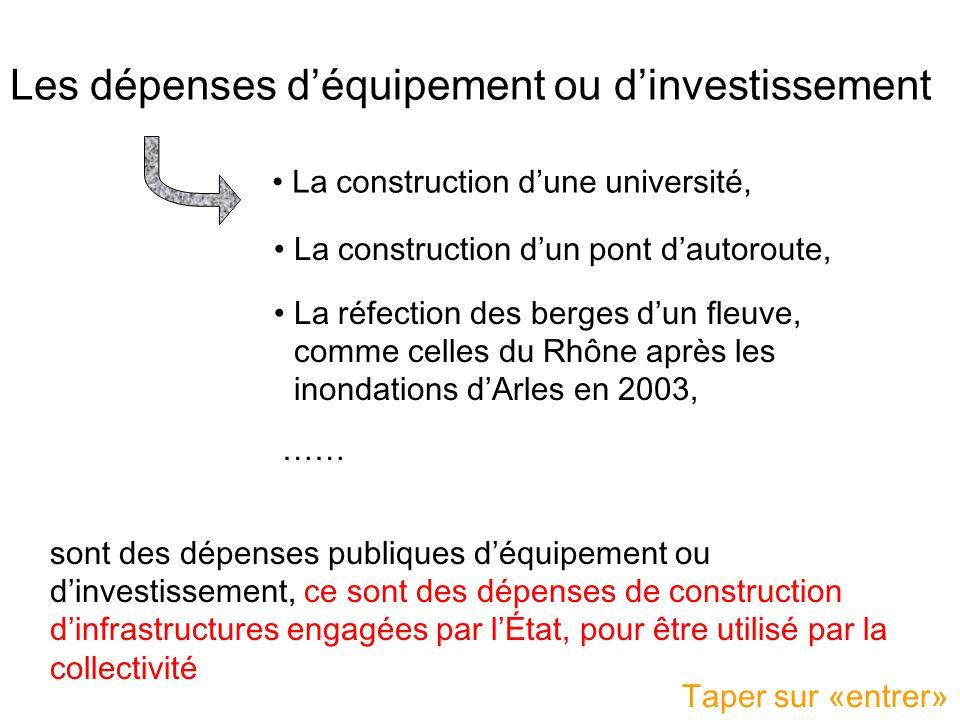 Les dépenses d'équipement ou d'investissement
