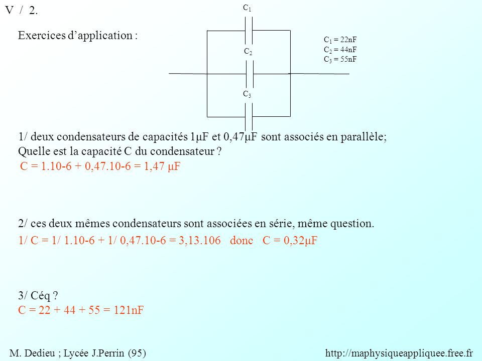 M. Dedieu ; Lycée J.Perrin (95) http://maphysiqueappliquee.free.fr