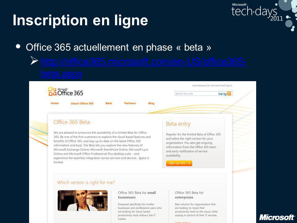 Inscription en ligne Office 365 actuellement en phase « beta »