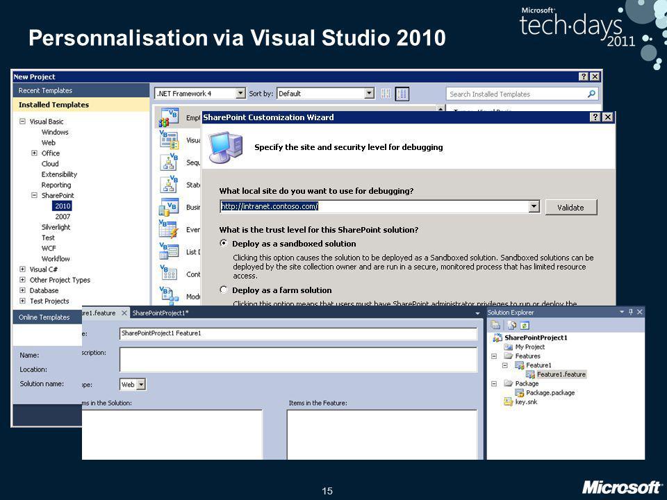 Personnalisation via Visual Studio 2010