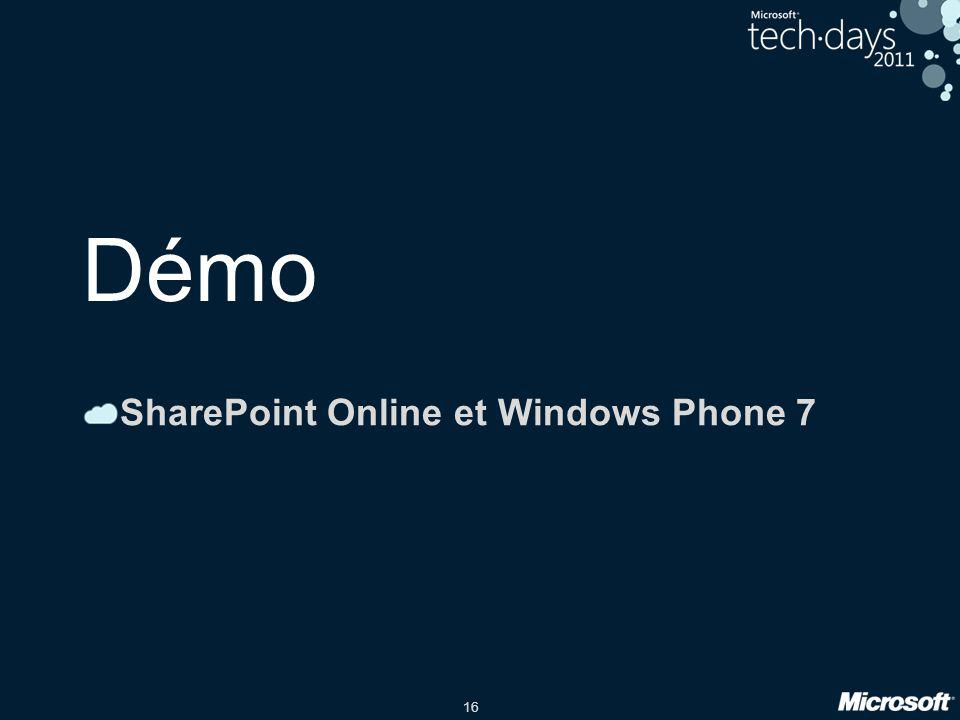 SharePoint Online et Windows Phone 7
