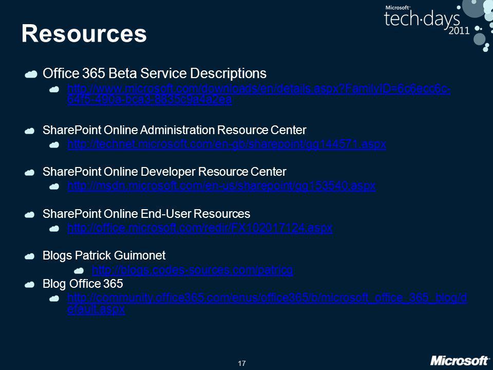 Resources Office 365 Beta Service Descriptions