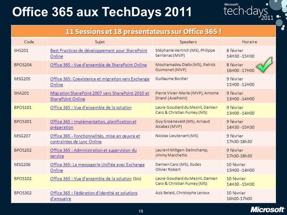 11 Sessions et 18 présentateurs sur Office 365 !