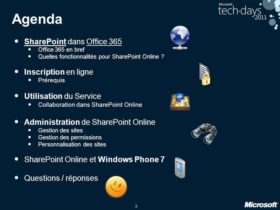 Agenda SharePoint dans Office 365 Inscription en ligne