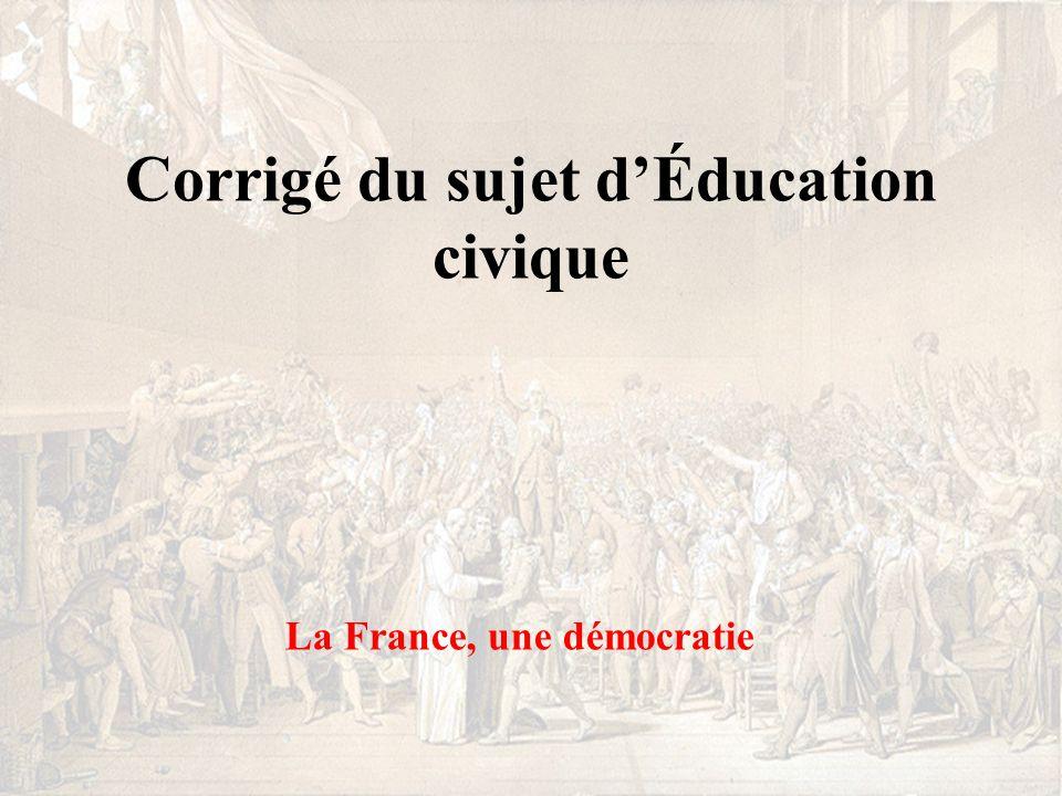 Corrigé du sujet d'Éducation civique