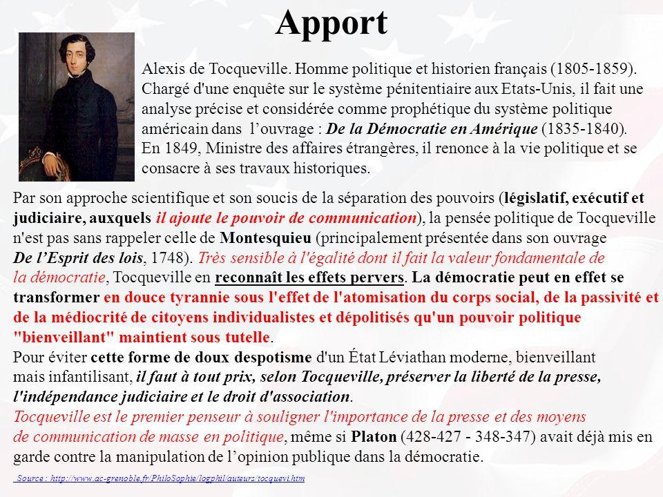 Apport Alexis de Tocqueville. Homme politique et historien français (1805-1859).