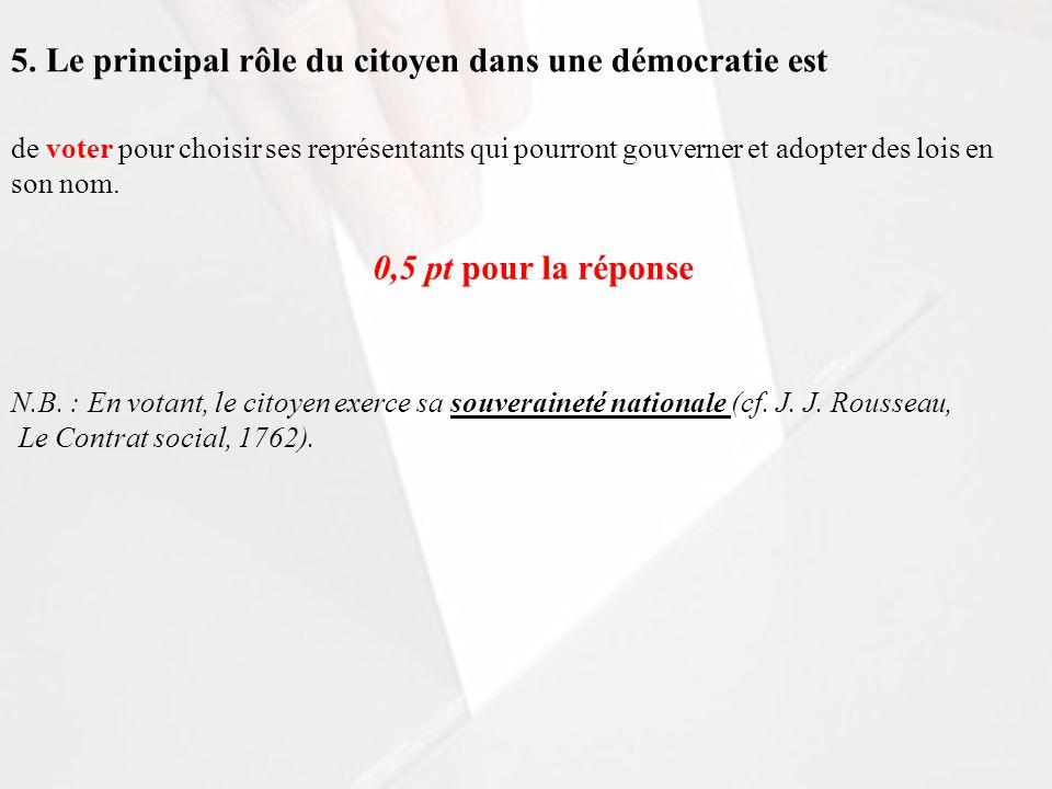 5. Le principal rôle du citoyen dans une démocratie est