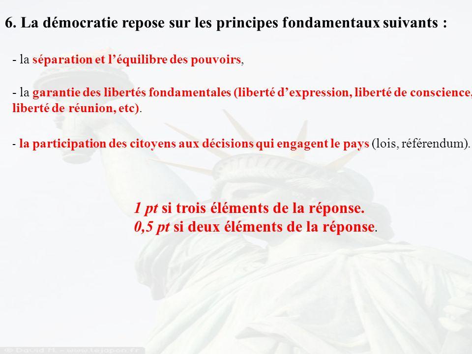 6. La démocratie repose sur les principes fondamentaux suivants :