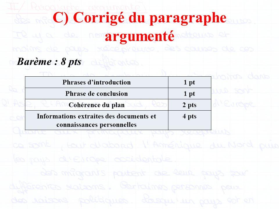C) Corrigé du paragraphe argumenté
