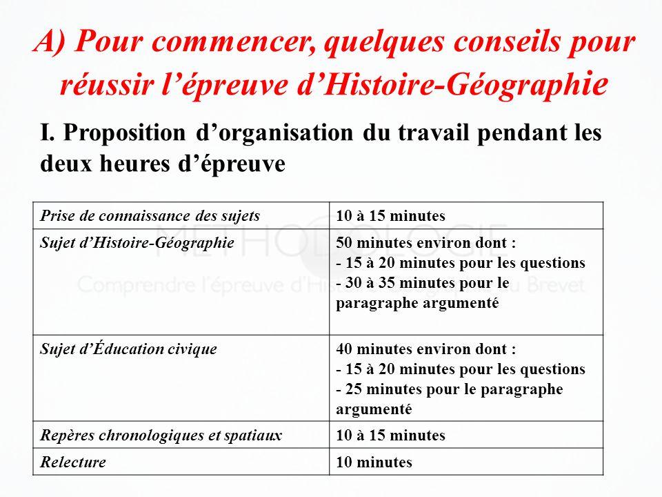 A) Pour commencer, quelques conseils pour réussir l'épreuve d'Histoire-Géographie