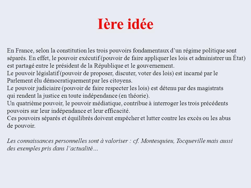 Ière idée En France, selon la constitution les trois pouvoirs fondamentaux d'un régime politique sont.