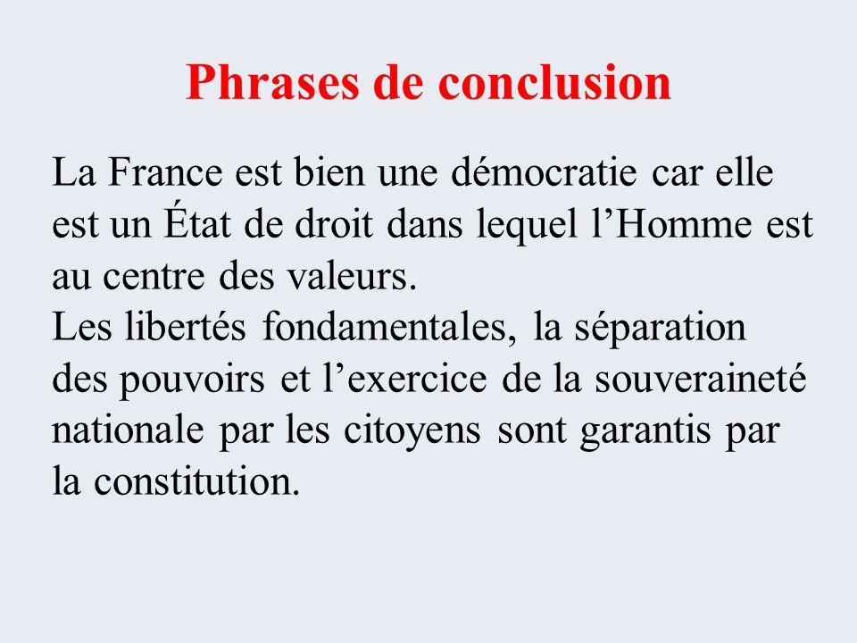 Phrases de conclusion La France est bien une démocratie car elle est un État de droit dans lequel l'Homme est au centre des valeurs.
