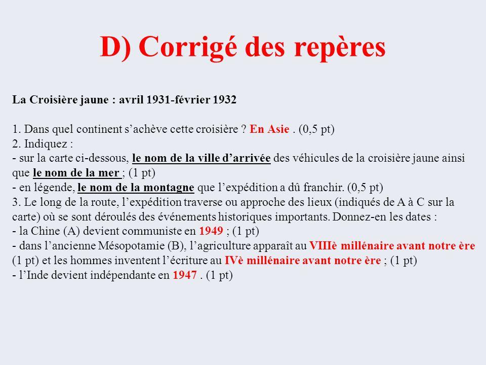 D) Corrigé des repères La Croisière jaune : avril 1931-février 1932