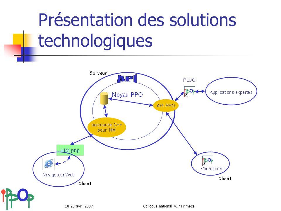 Présentation des solutions technologiques