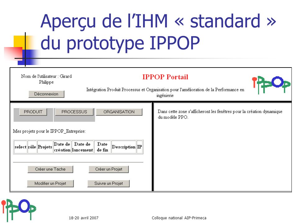 Aperçu de l'IHM « standard » du prototype IPPOP