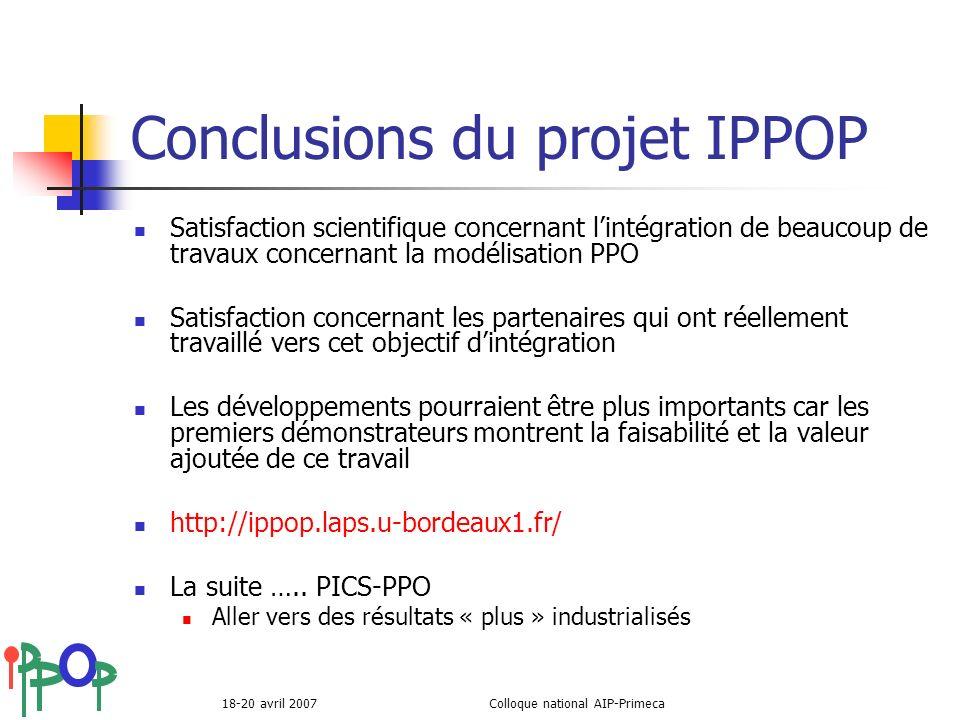 Conclusions du projet IPPOP