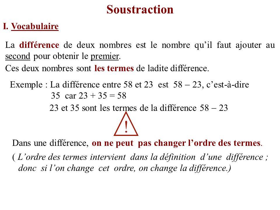 ! Soustraction I. Vocabulaire