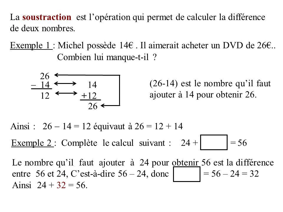La soustraction est l'opération qui permet de calculer la différence de deux nombres.