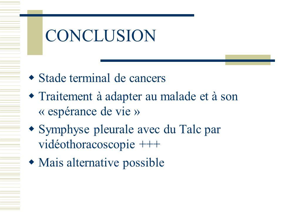 CONCLUSION Stade terminal de cancers