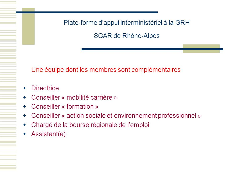 Plate-forme d'appui interministériel à la GRH SGAR de Rhône-Alpes
