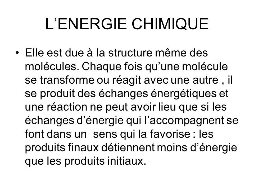 L'ENERGIE CHIMIQUE