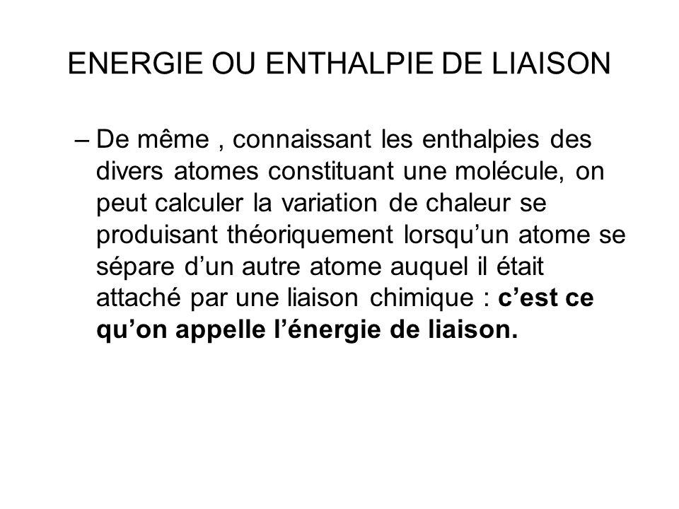 ENERGIE OU ENTHALPIE DE LIAISON