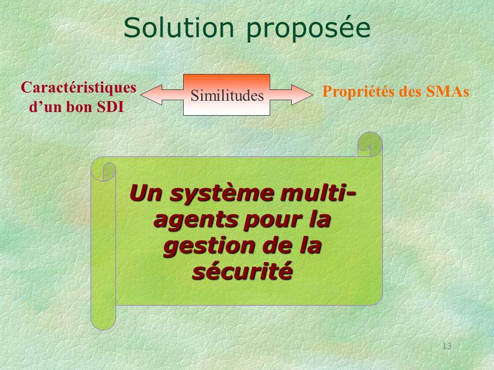 Un système multi-agents pour la gestion de la sécurité