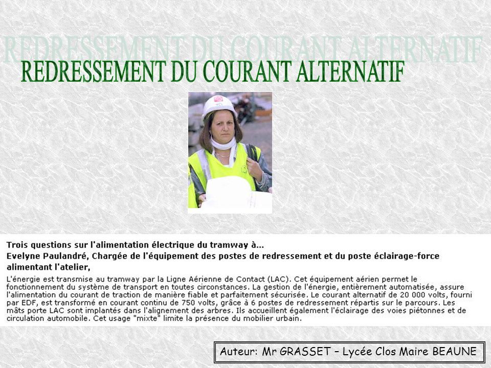 REDRESSEMENT DU COURANT ALTERNATIF