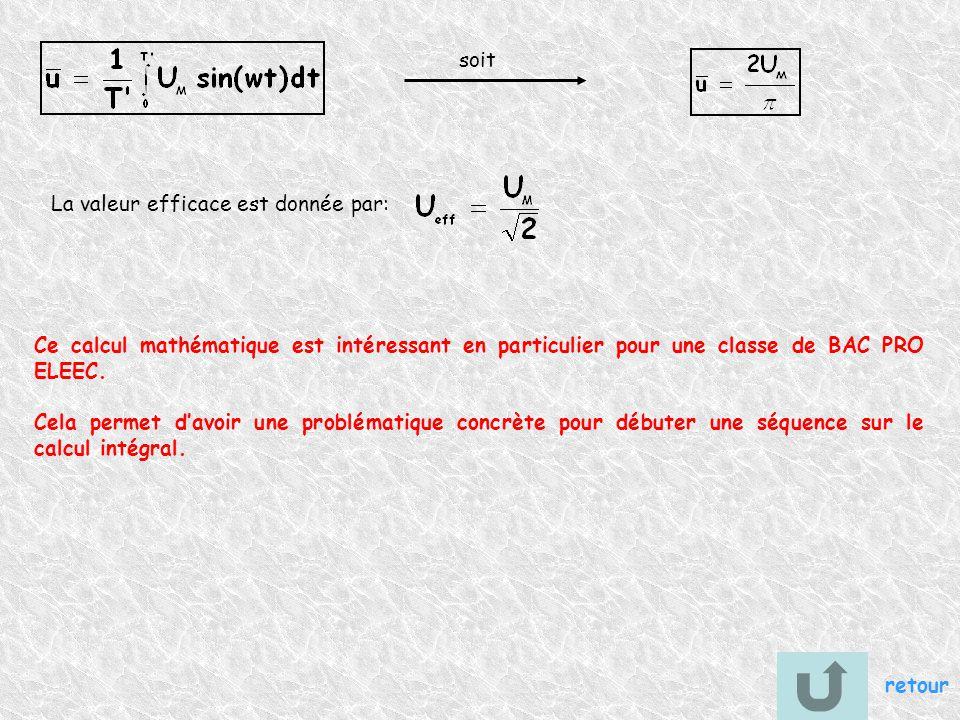 soit La valeur efficace est donnée par: Ce calcul mathématique est intéressant en particulier pour une classe de BAC PRO ELEEC.