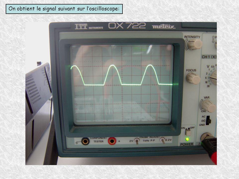 On obtient le signal suivant sur l'oscilloscope: