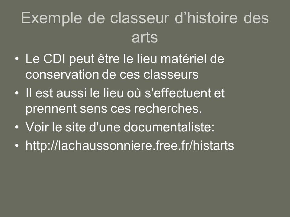 Exemple de classeur d'histoire des arts