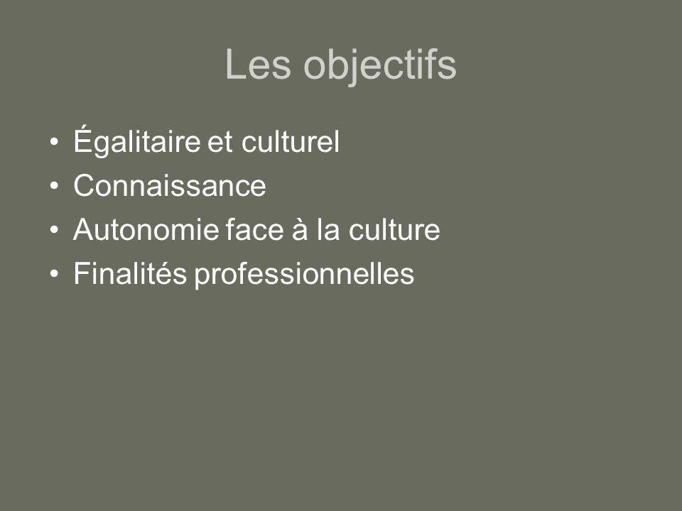 Les objectifs Égalitaire et culturel Connaissance