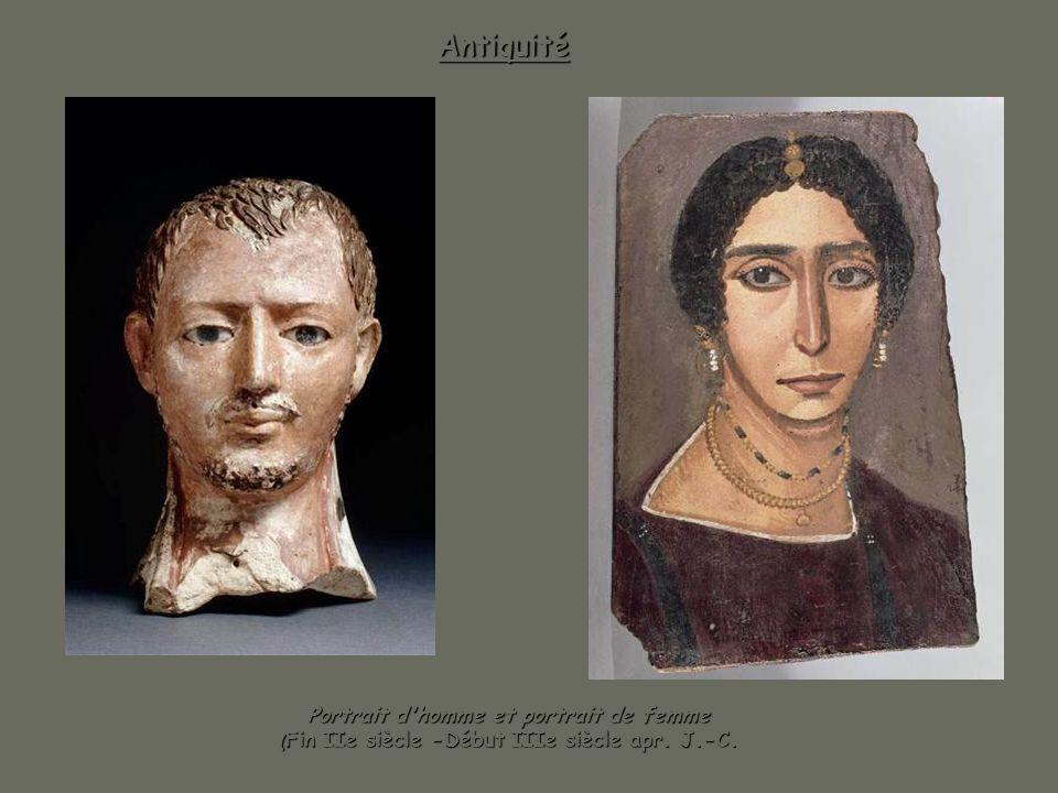 Antiquité Portrait d homme et portrait de femme