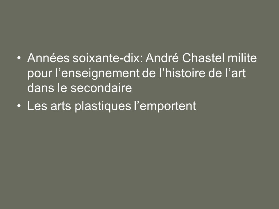 Années soixante-dix: André Chastel milite pour l'enseignement de l'histoire de l'art dans le secondaire