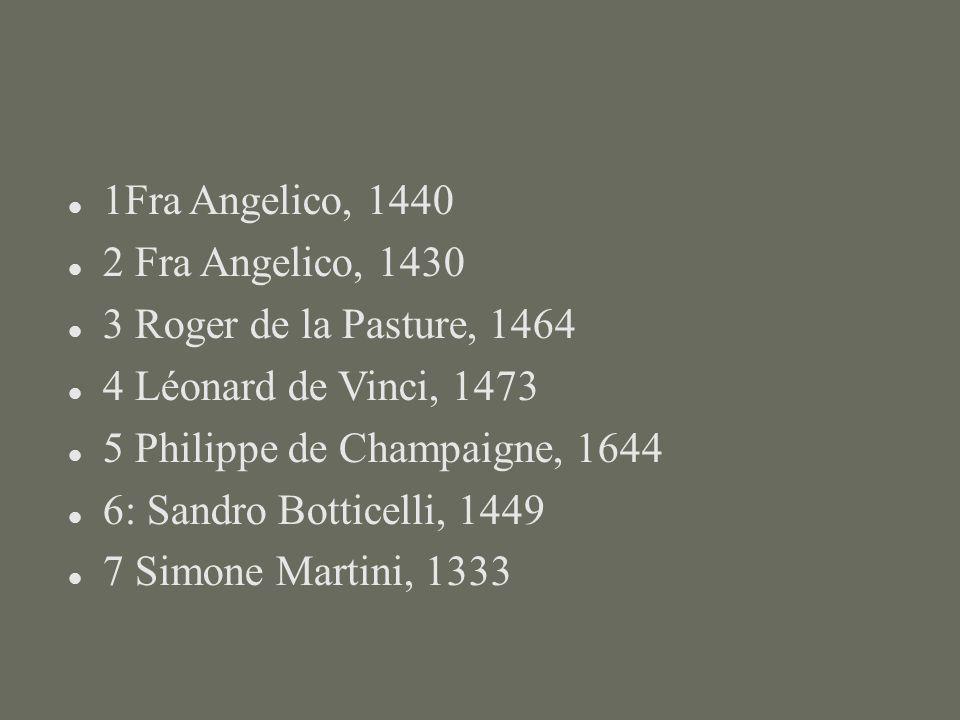 1Fra Angelico, 1440 2 Fra Angelico, 1430. 3 Roger de la Pasture, 1464. 4 Léonard de Vinci, 1473. 5 Philippe de Champaigne, 1644.