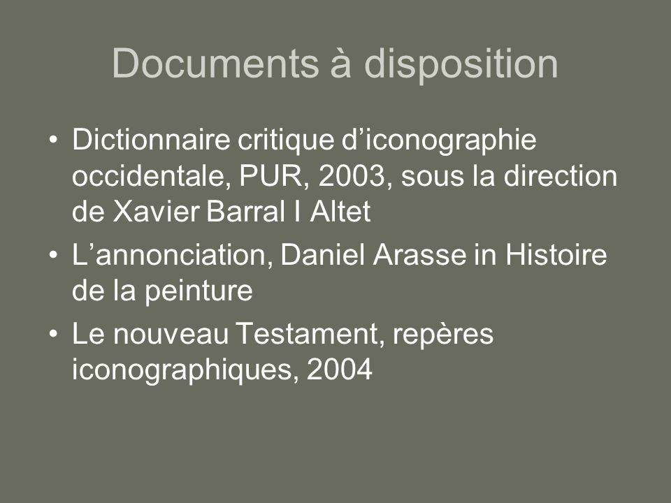 Documents à disposition