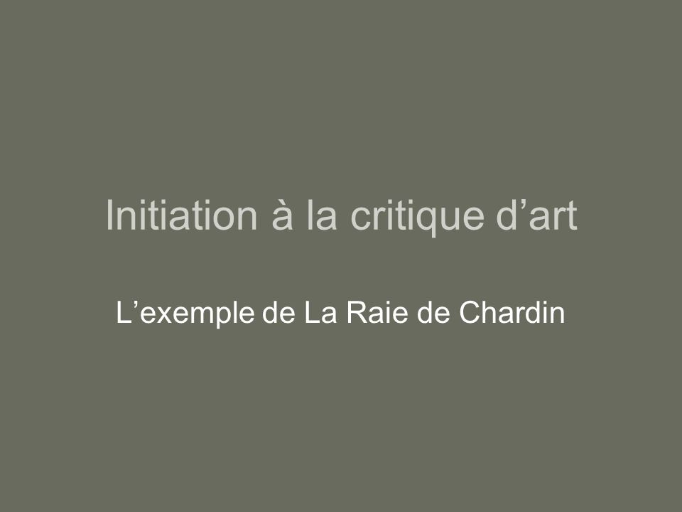 Initiation à la critique d'art