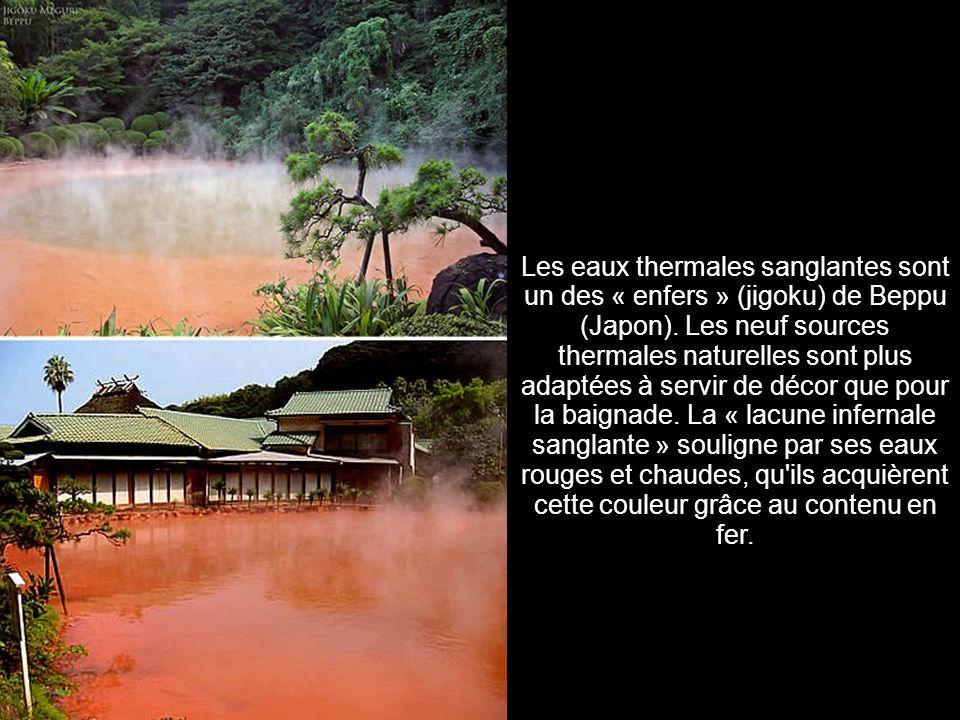 Les eaux thermales sanglantes sont un des « enfers » (jigoku) de Beppu (Japon).