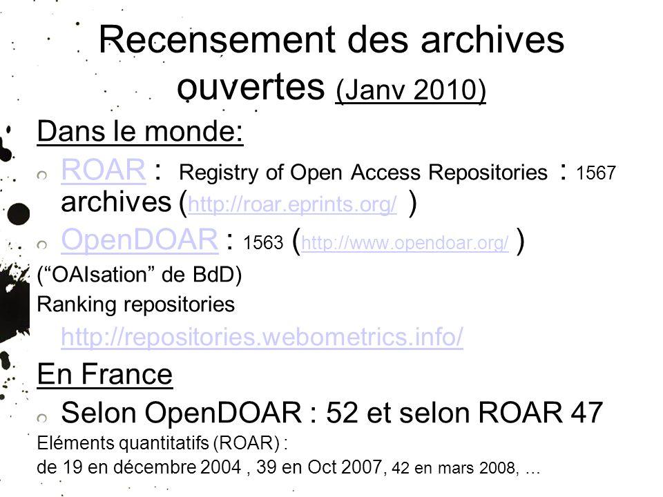 Recensement des archives ouvertes (Janv 2010)