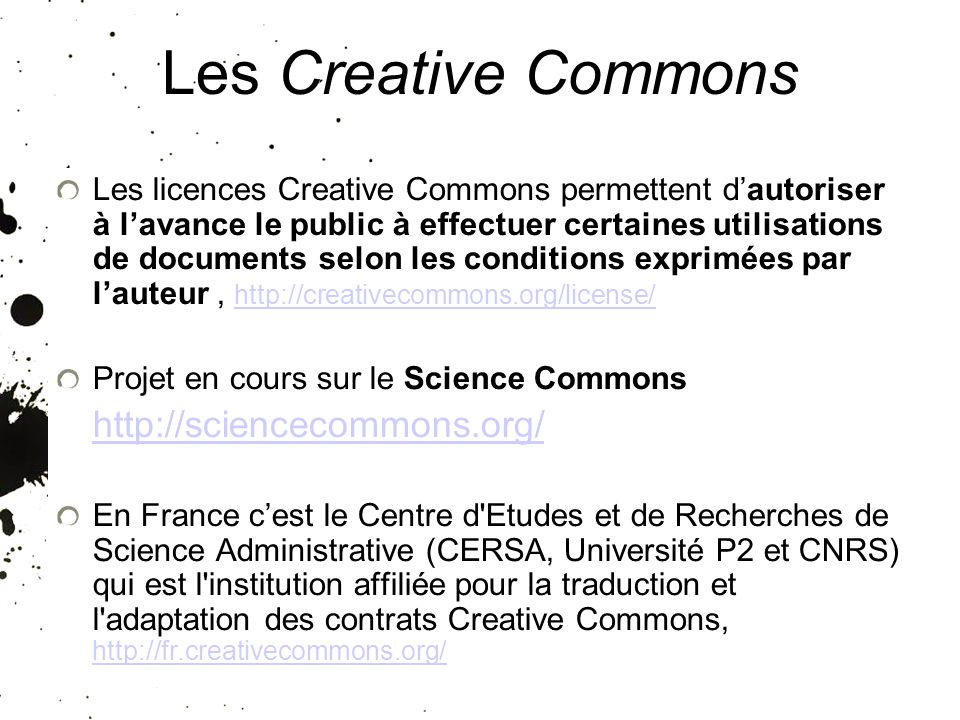 25/01/10 Les Creative Commons.