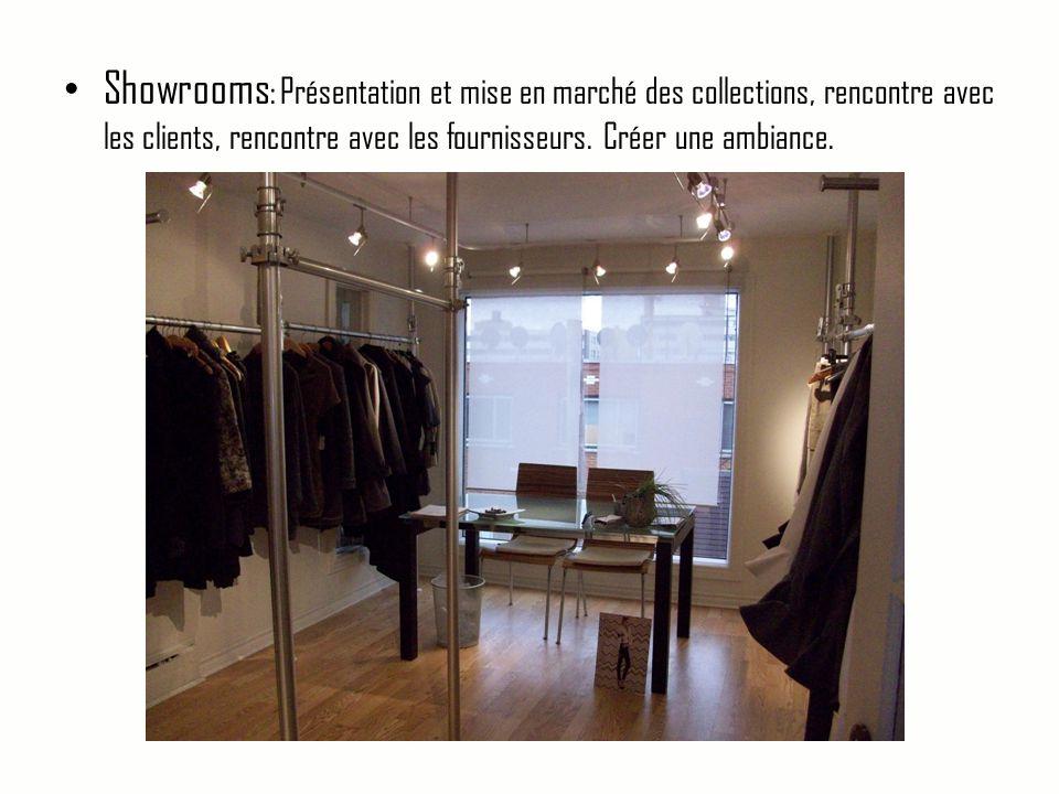 Showrooms: Présentation et mise en marché des collections, rencontre avec les clients, rencontre avec les fournisseurs.