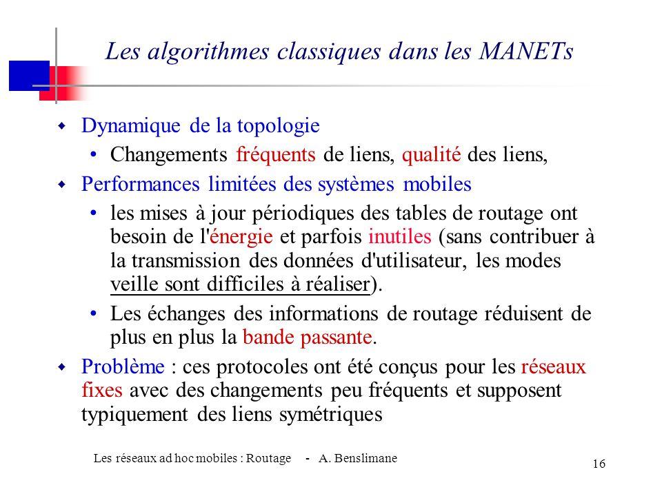 Les algorithmes classiques dans les MANETs