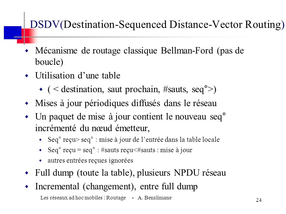 DSDV(Destination-Sequenced Distance-Vector Routing)