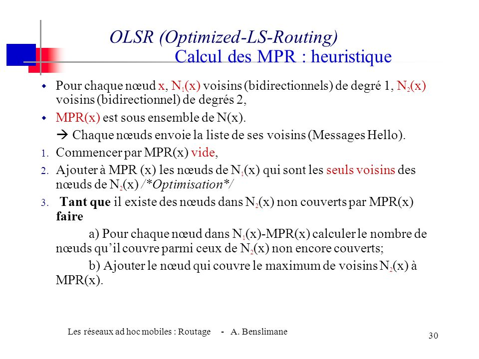 OLSR (Optimized-LS-Routing)RIA